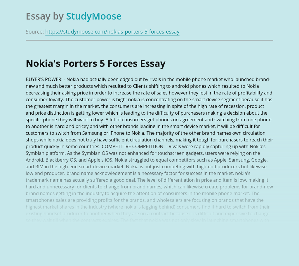 Nokia's Porters 5 Forces