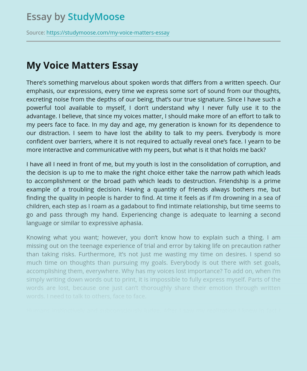My Voice Matters in Interpersonal Relationship