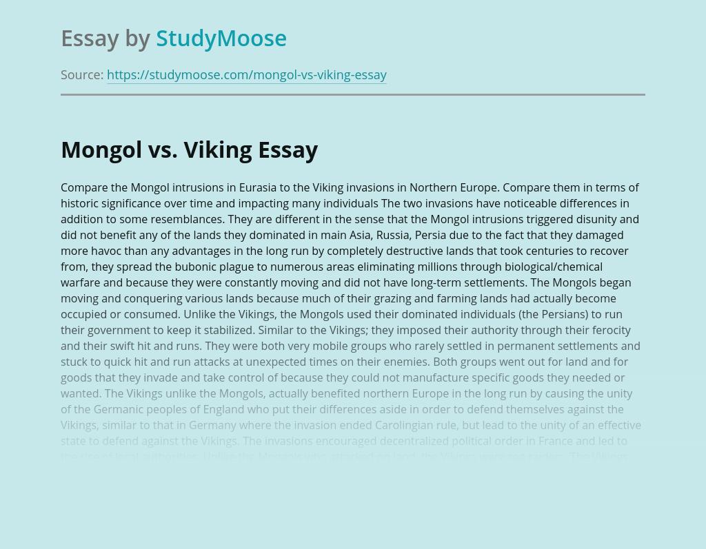 Mongol vs. Viking Comparison
