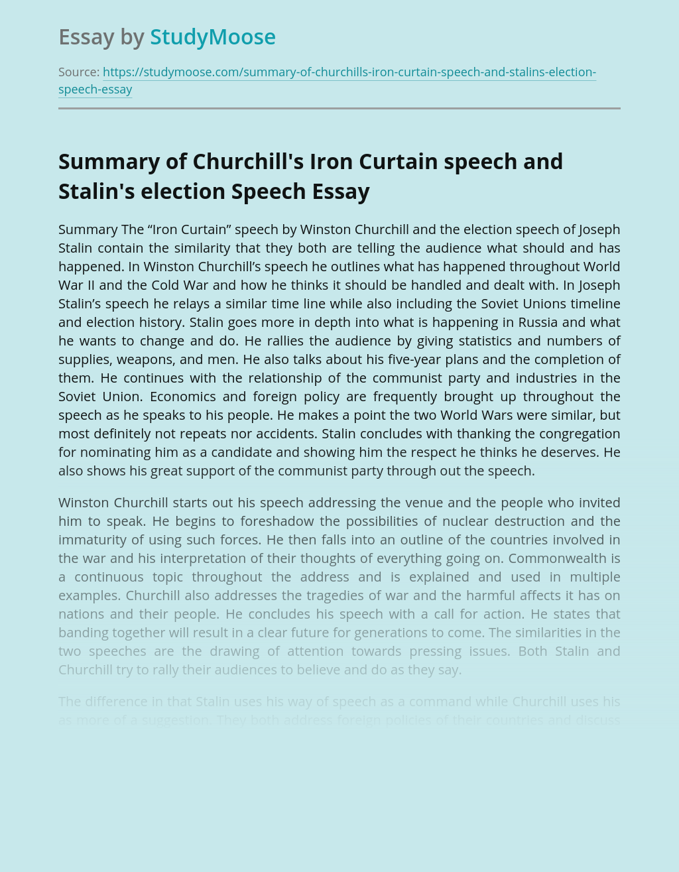 Summary of Churchill's Iron Curtain speech and Stalin's election Speech