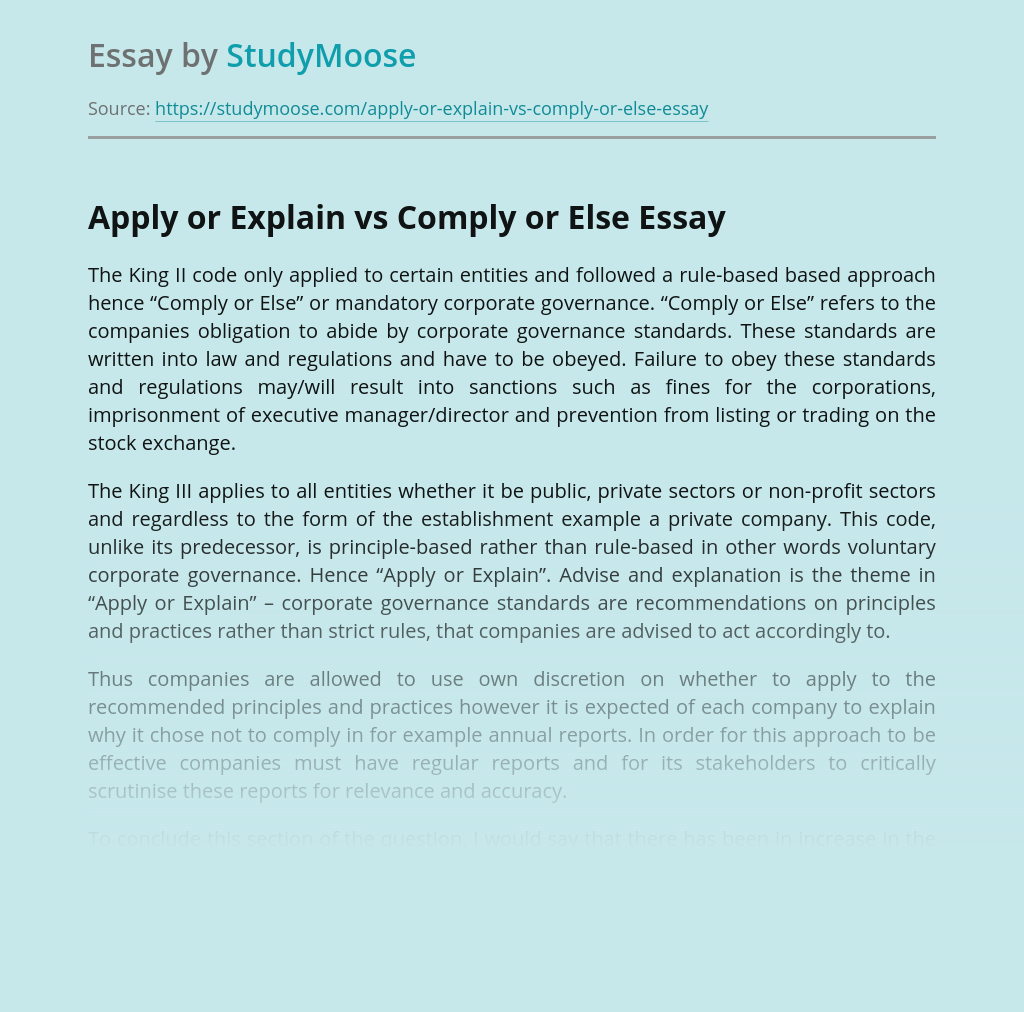 Apply or Explain vs Comply or Else
