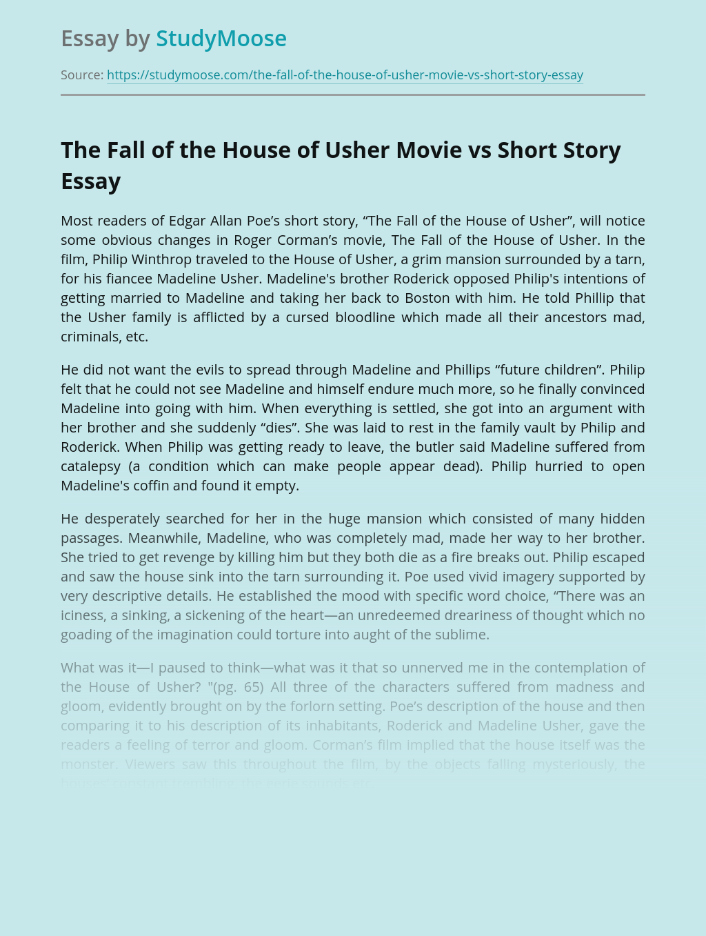 The Fall of the House of Usher Movie vs Short Story