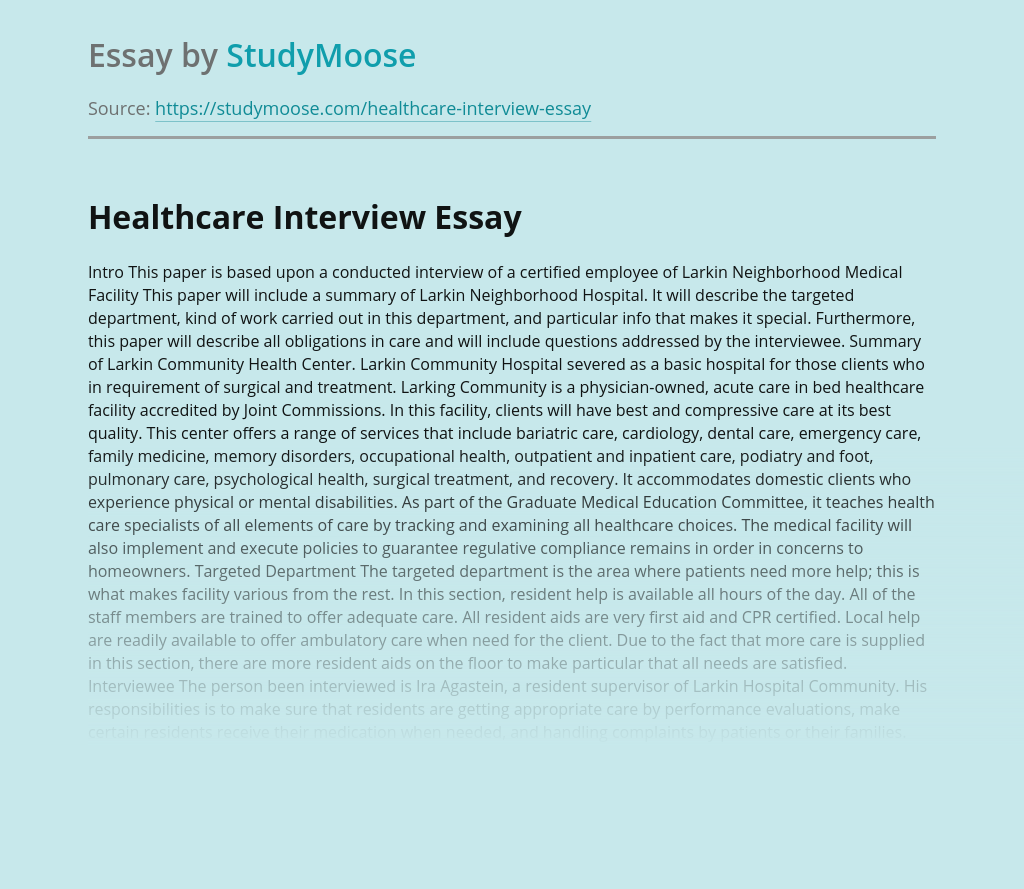 Healthcare Interview