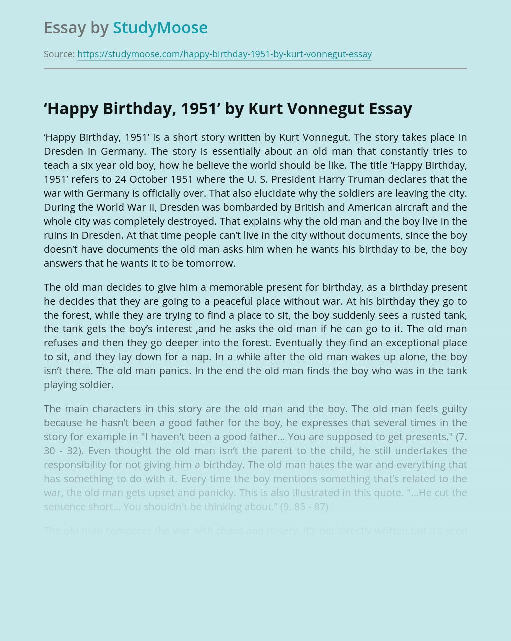 'Happy Birthday, 1951' by Kurt Vonnegut