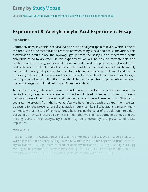 Acetylsalicylic Acid Experiment