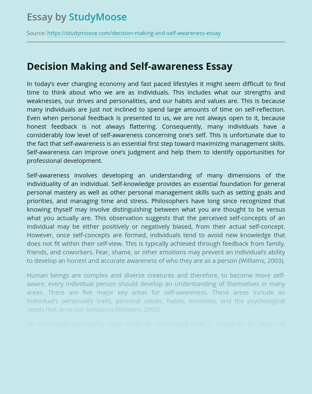 Decision Making and Self-awareness