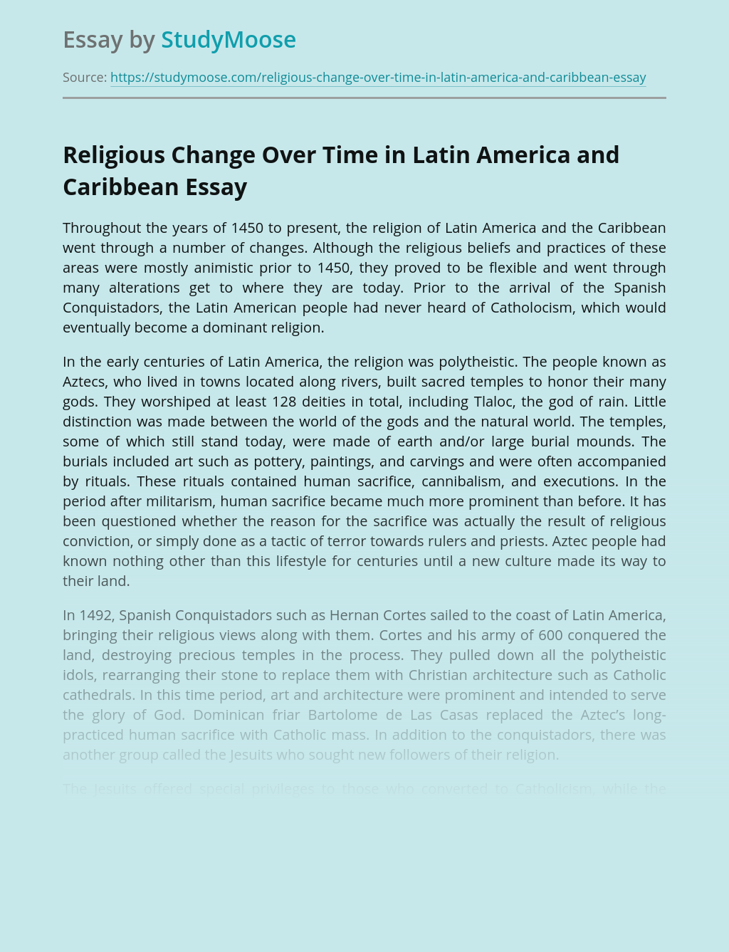 Religious Change Over Time in Latin America and Caribbean