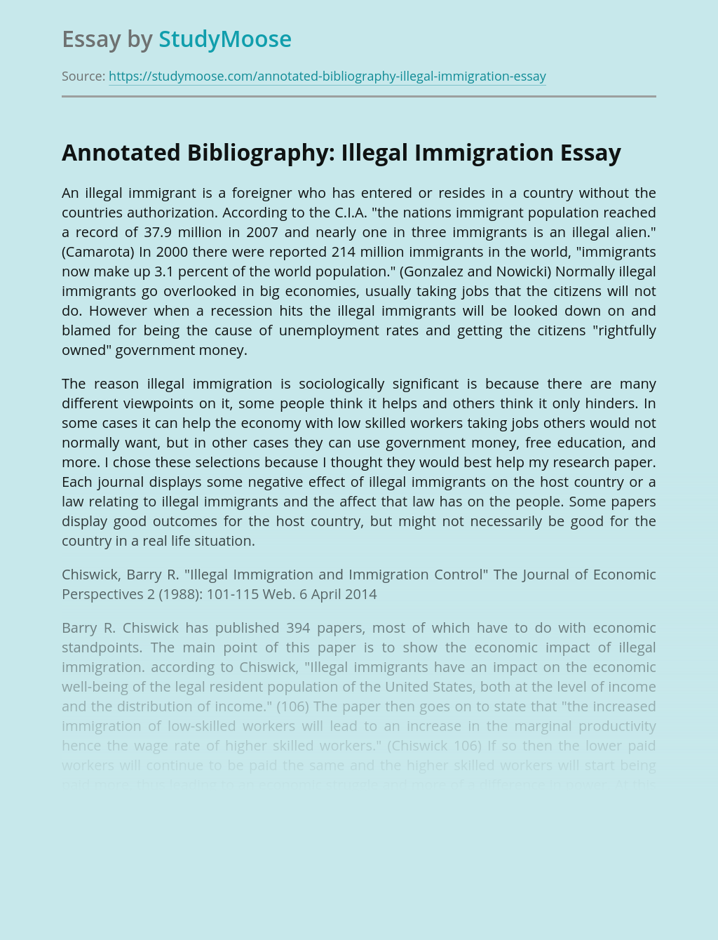 Annotated Bibliography: Illegal Immigration