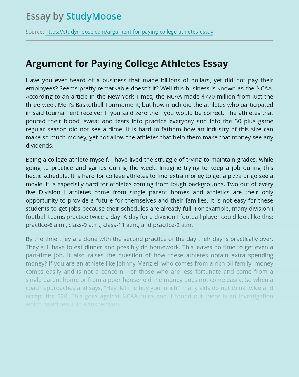 Why College Athletes Should Be Paid Essay Example