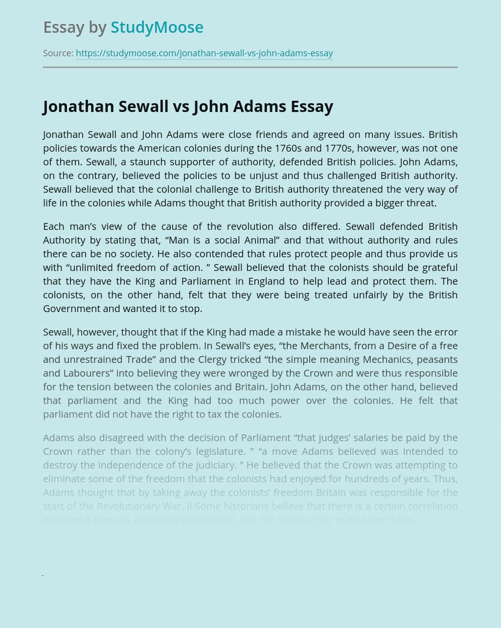 Jonathan Sewall vs John Adams