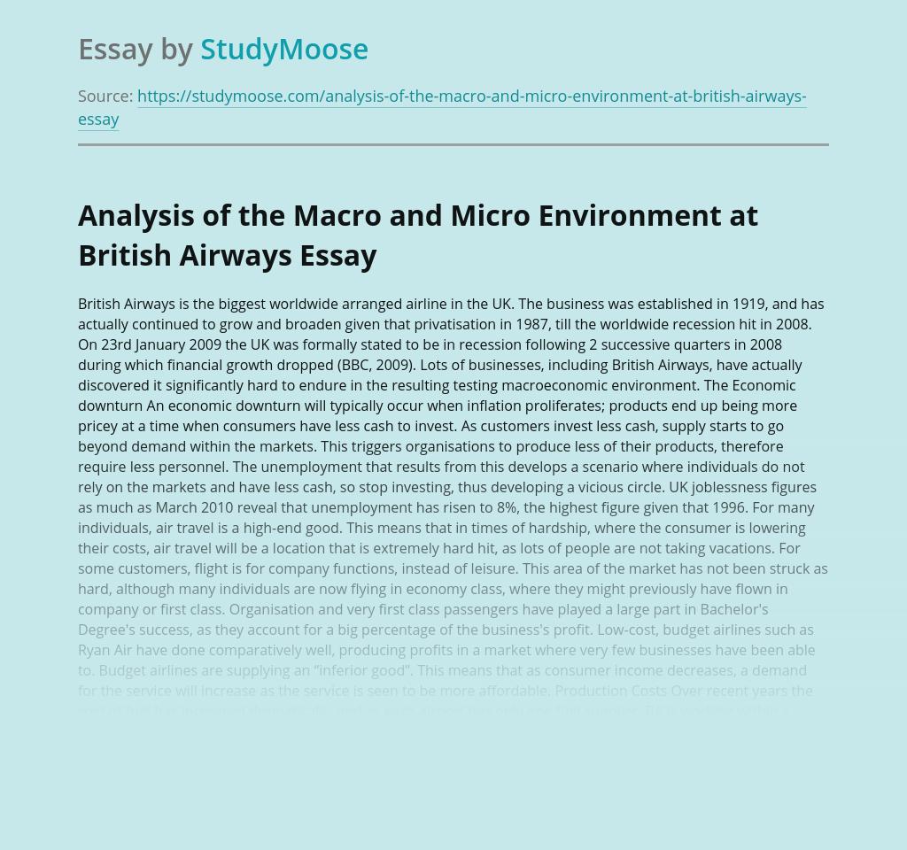 Analysis of the Macro and Micro Environment at British Airways
