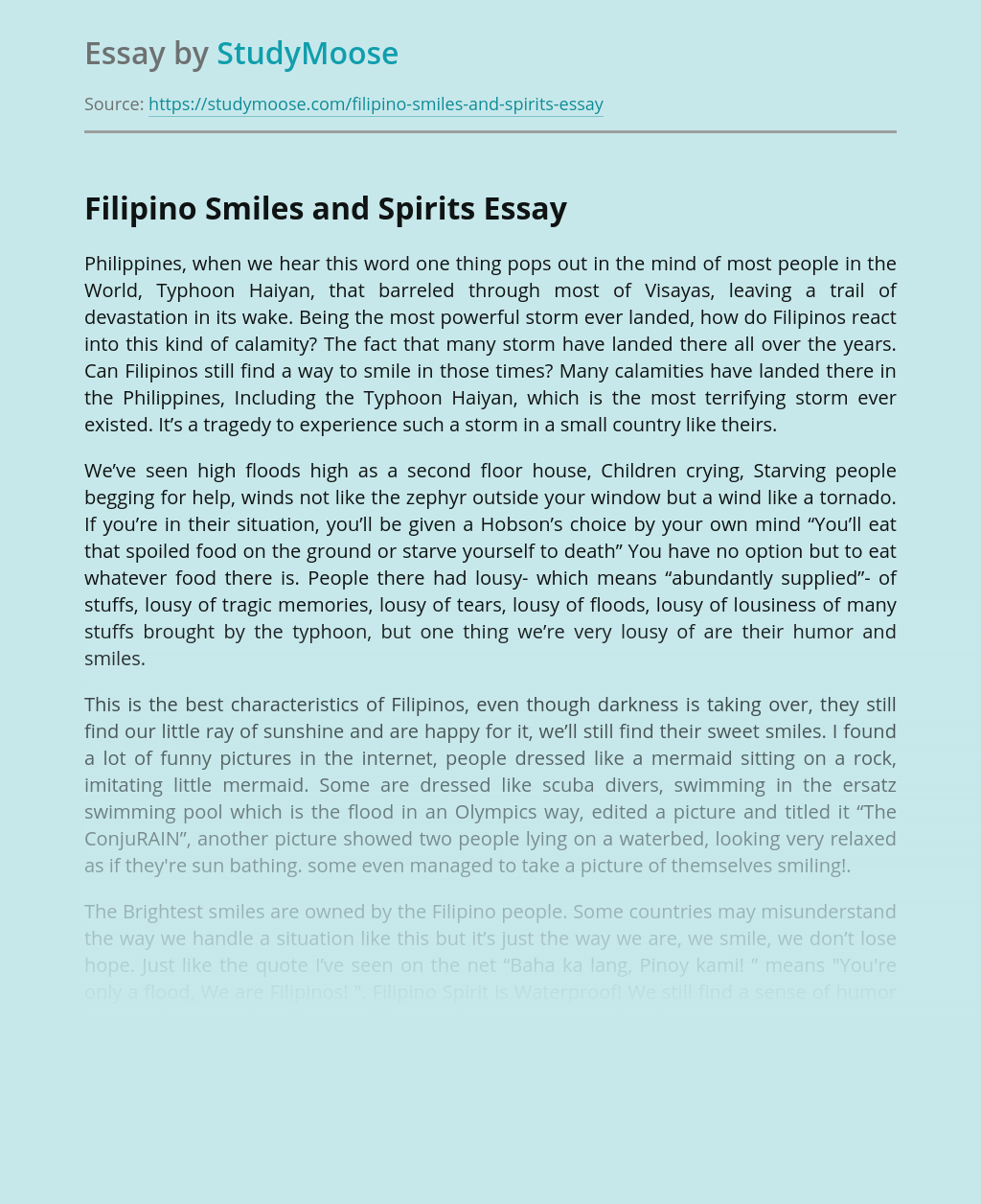 Filipino Smiles and Spirits