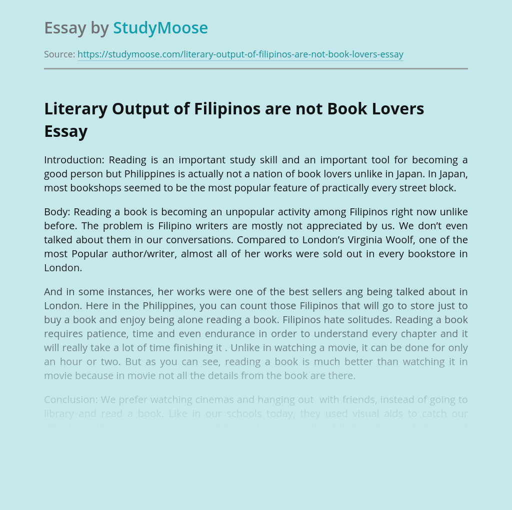 Literary Output of Filipinos are not Book Lovers