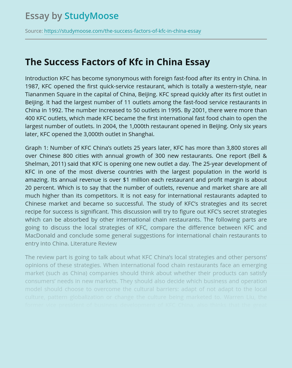 The Success Factors of Kfc in China