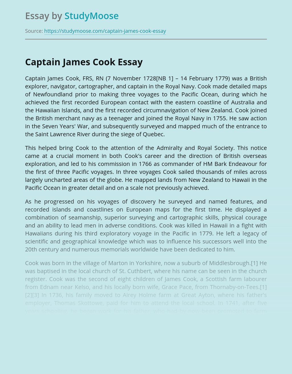 Life and Career of Captain James Cook