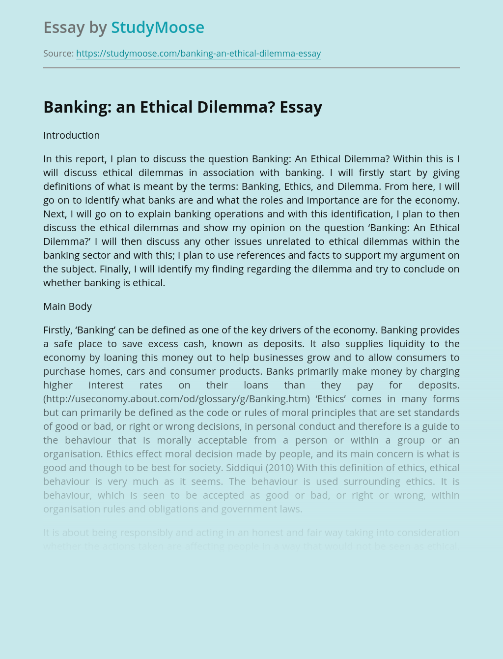 Banking: an Ethical Dilemma?