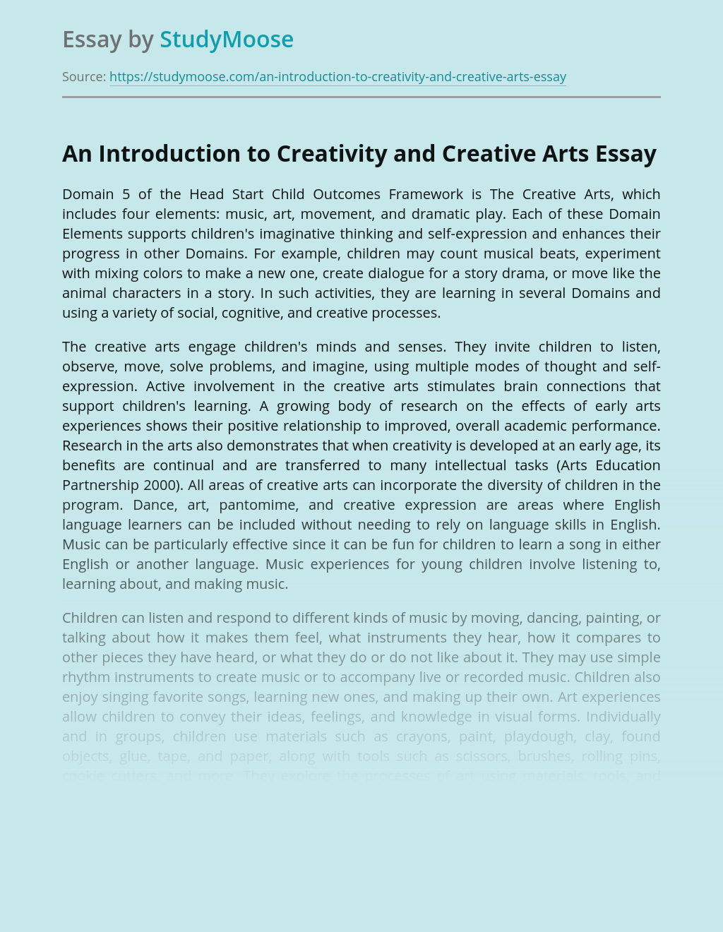 An Introduction to Creativity and Creative Arts