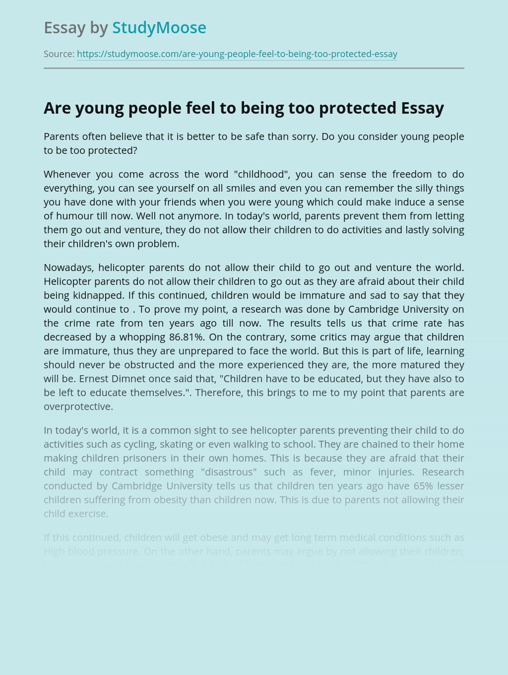 Are young people feel to being too protected