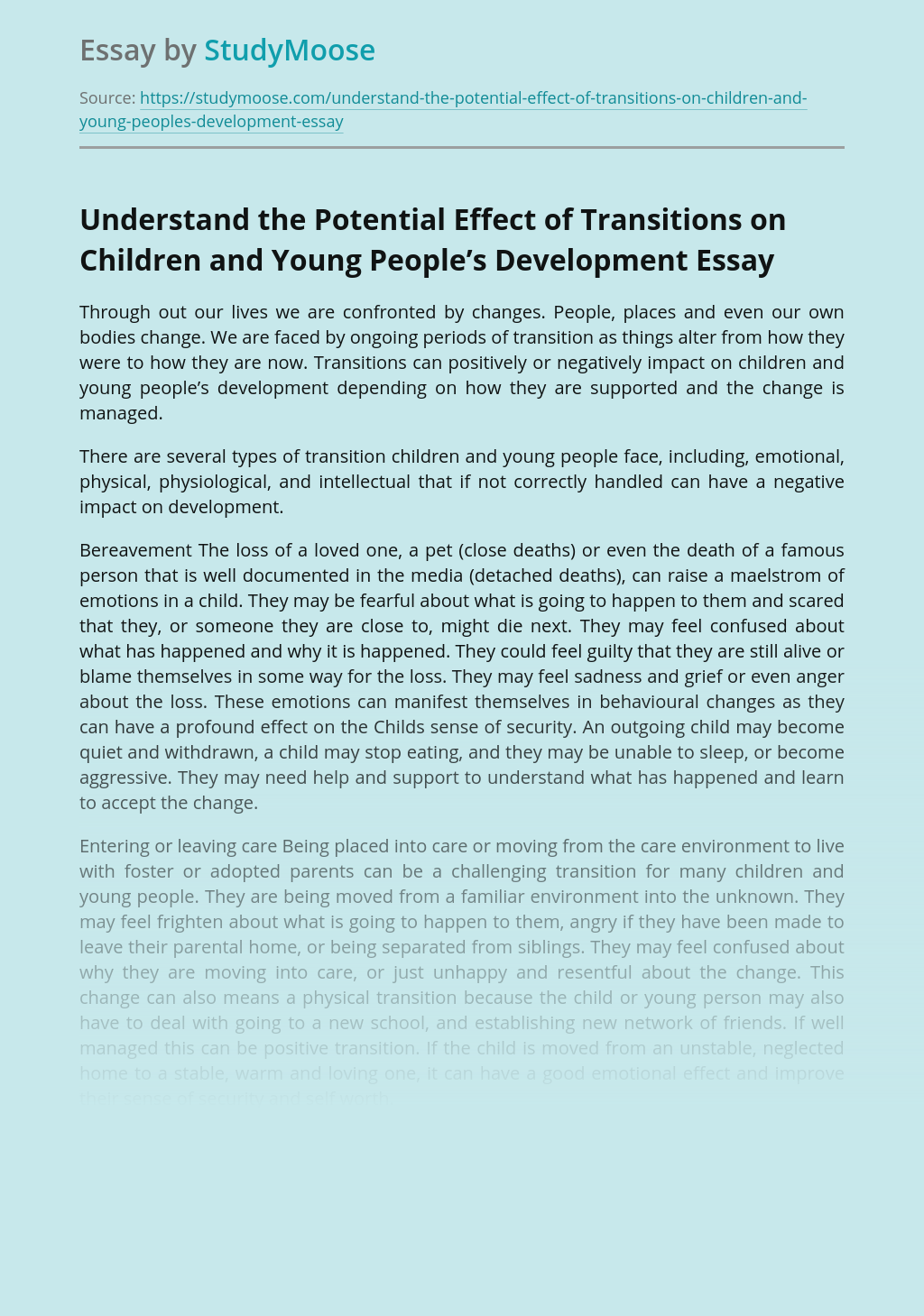 Understand the Potential Effect of Transitions on Children and Young People's Development