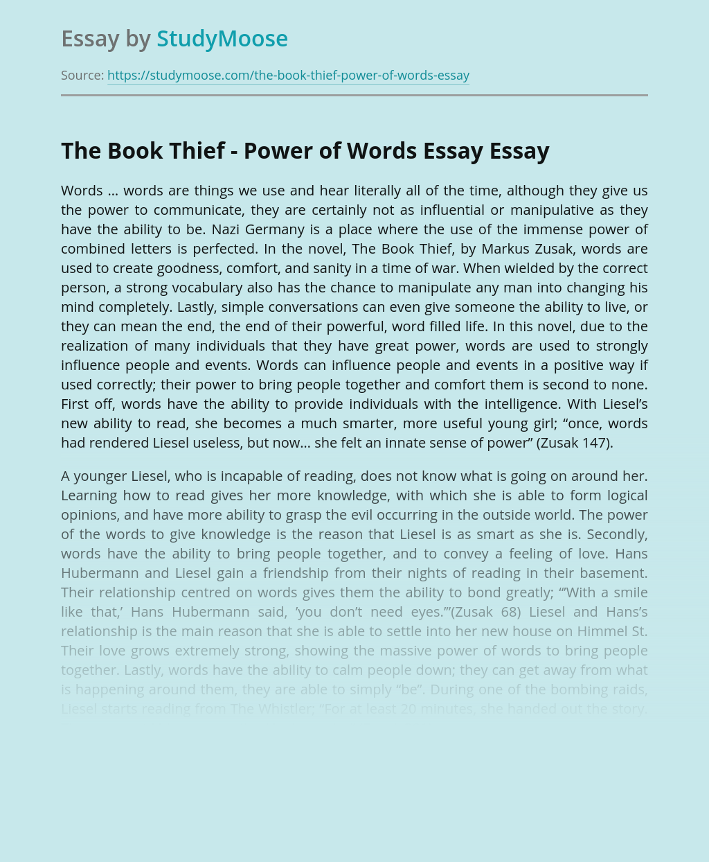The Book Thief - Power of Words Essay