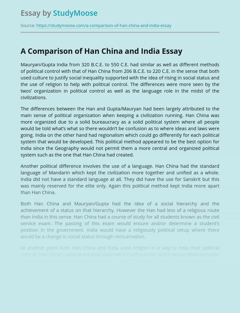 A Comparison of Han China and India