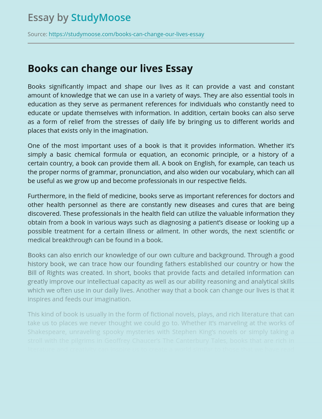 Books can change our lives