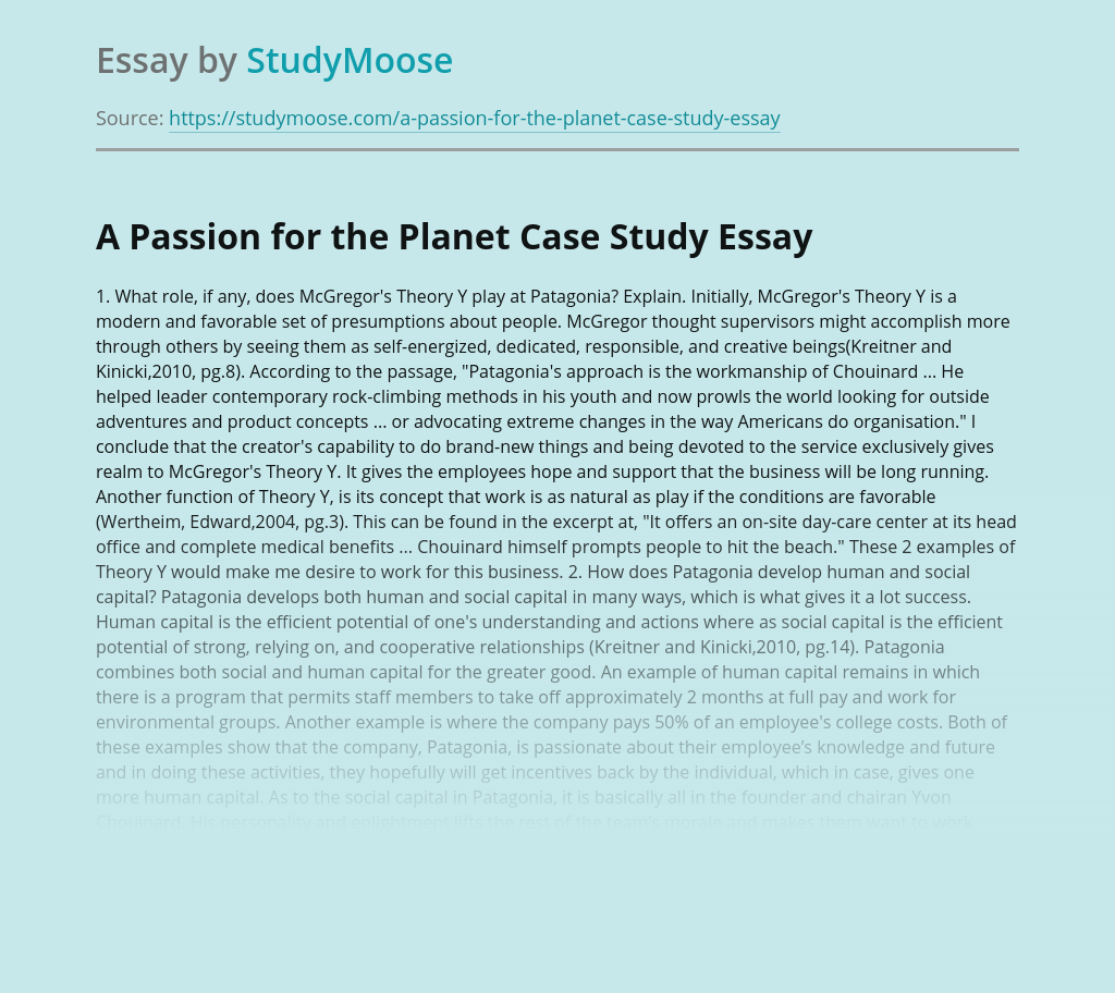 A Passion for the Planet Case Study