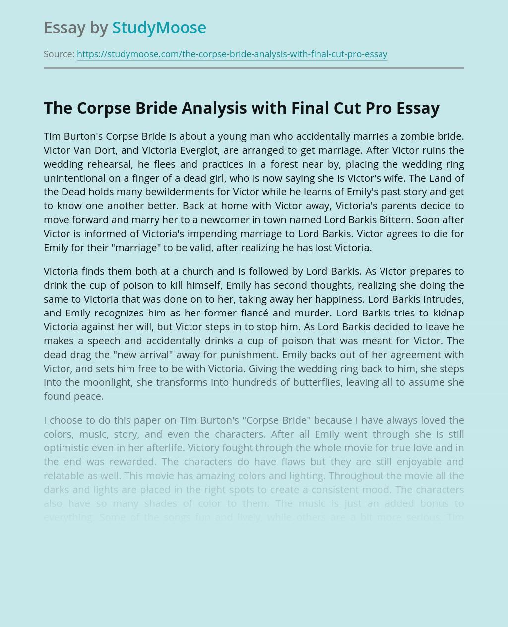 The Corpse Bride Animated Movie Analysis