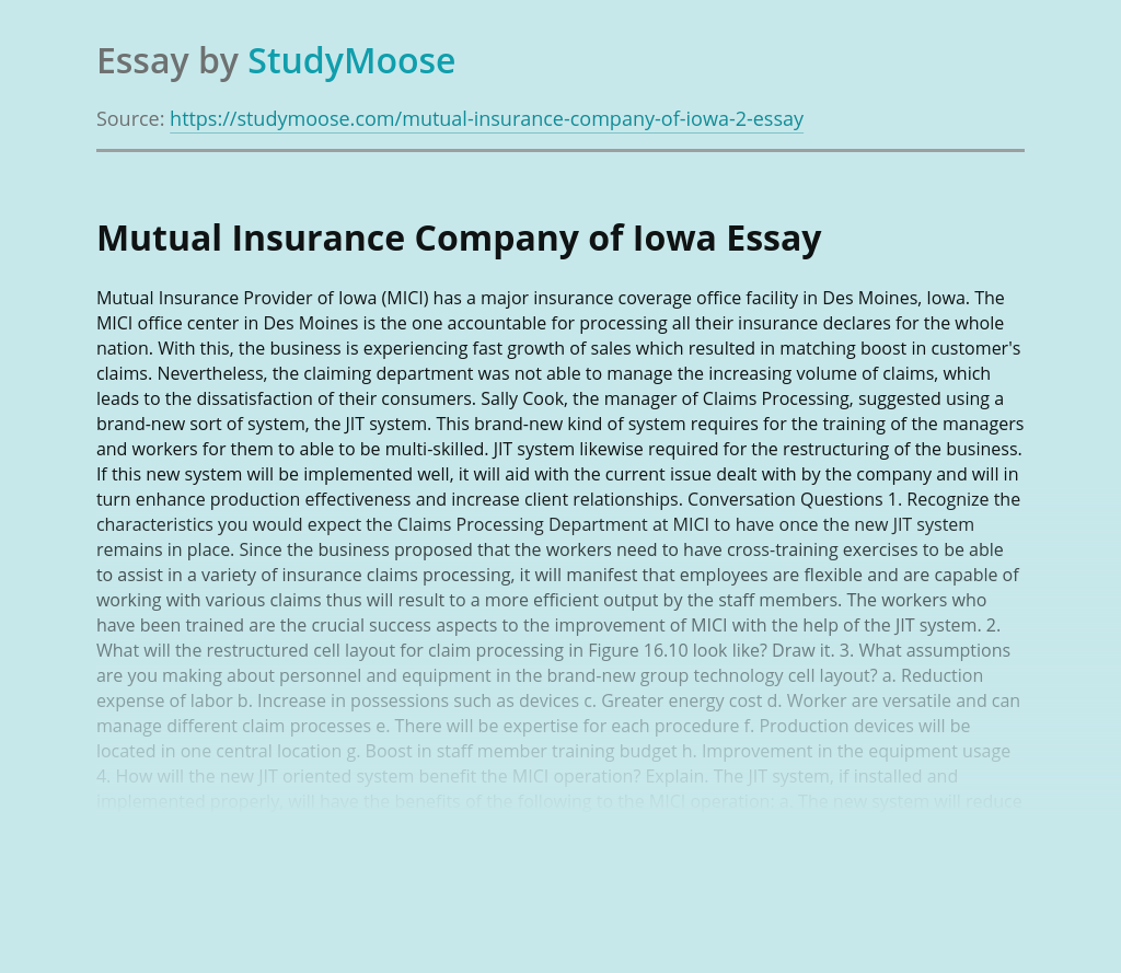 Mutual Insurance Company of Iowa