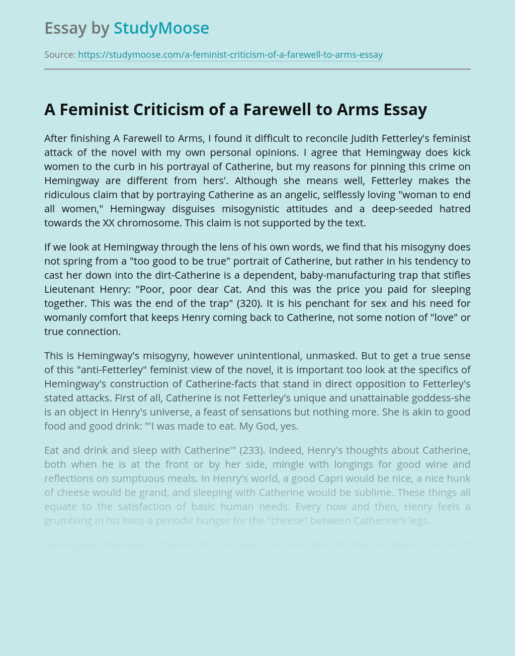 A Feminist Criticism of a Farewell to Arms