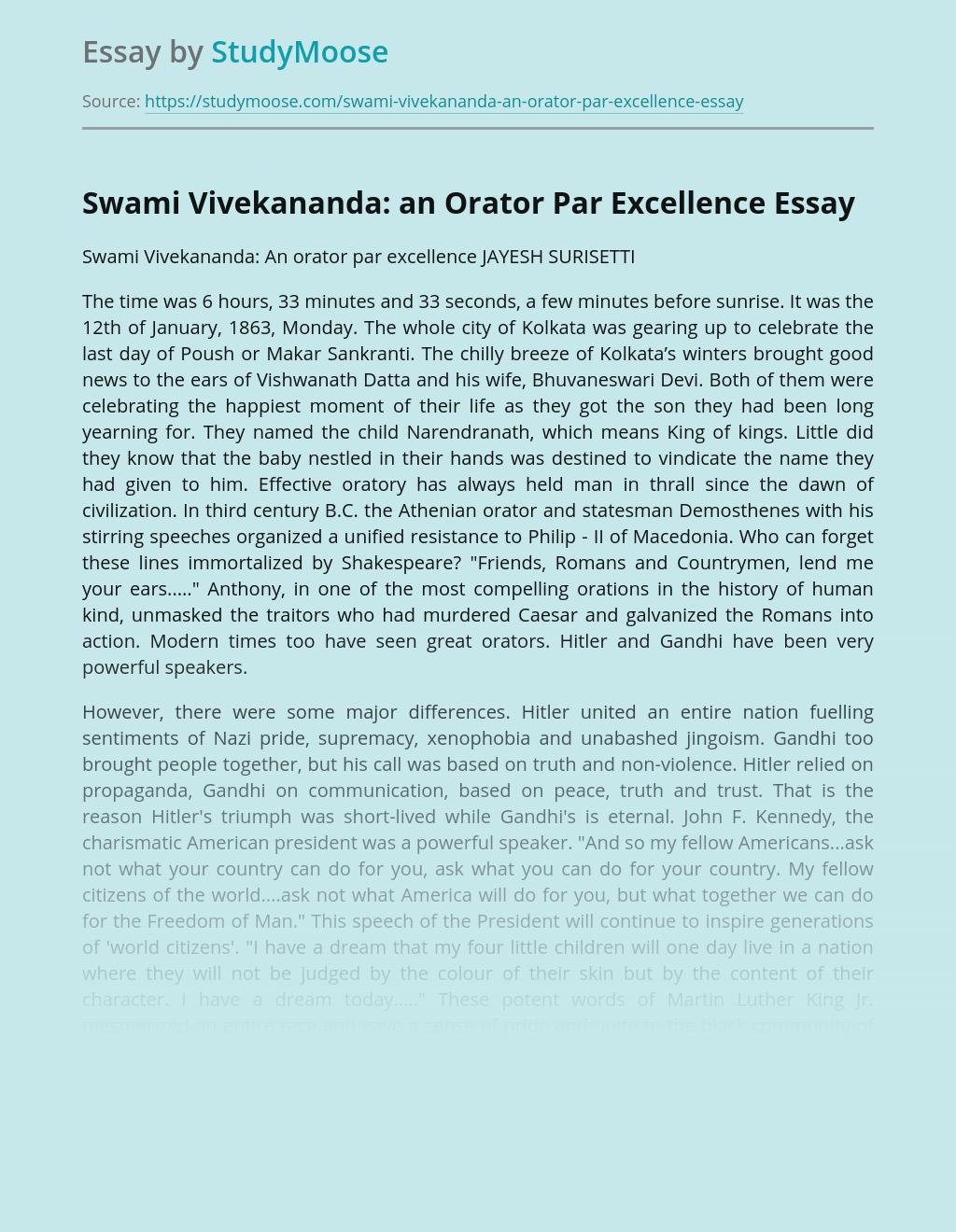 Swami Vivekananda: an Orator Par Excellence