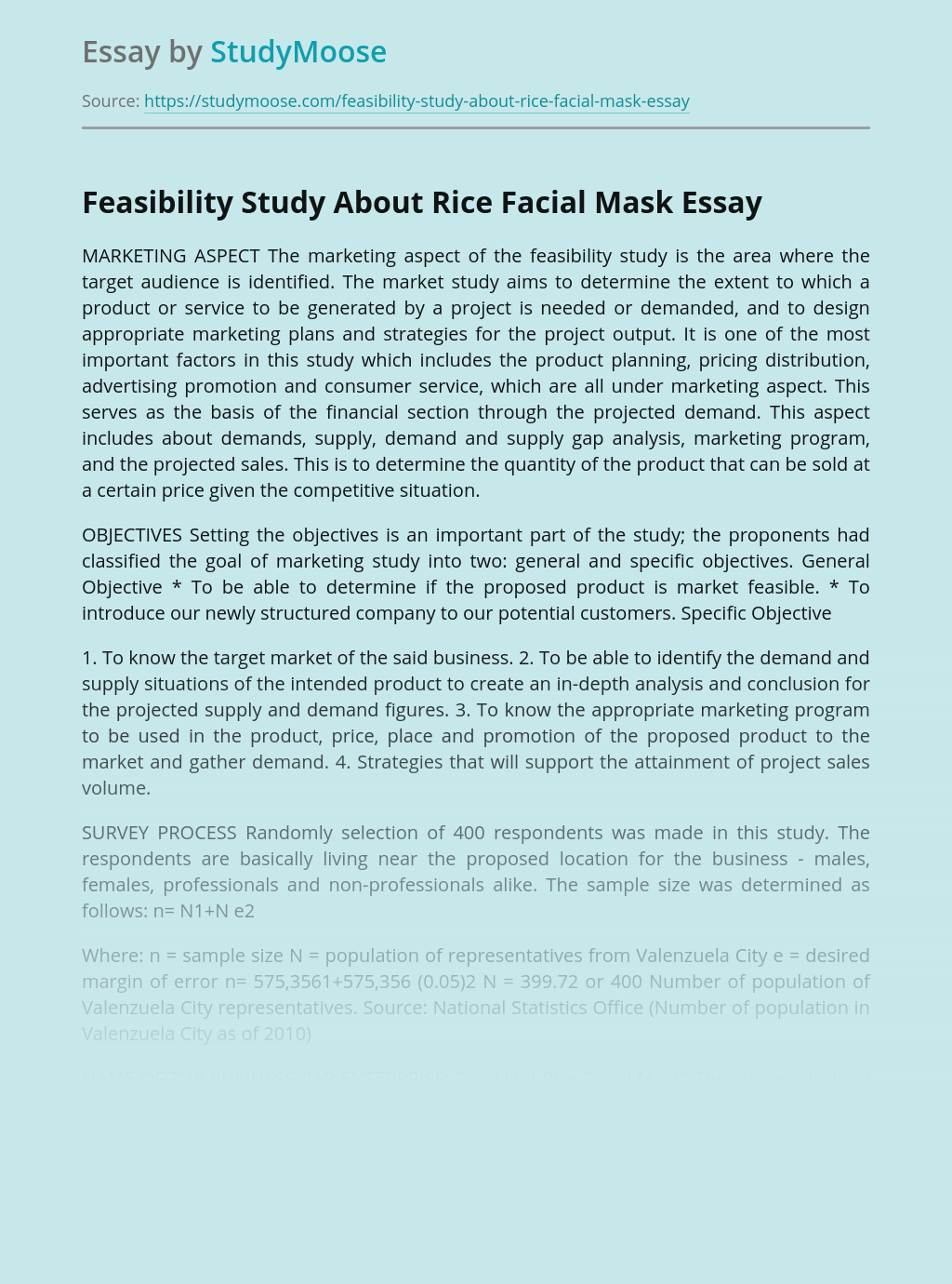 Feasibility Study About Rice Facial Mask