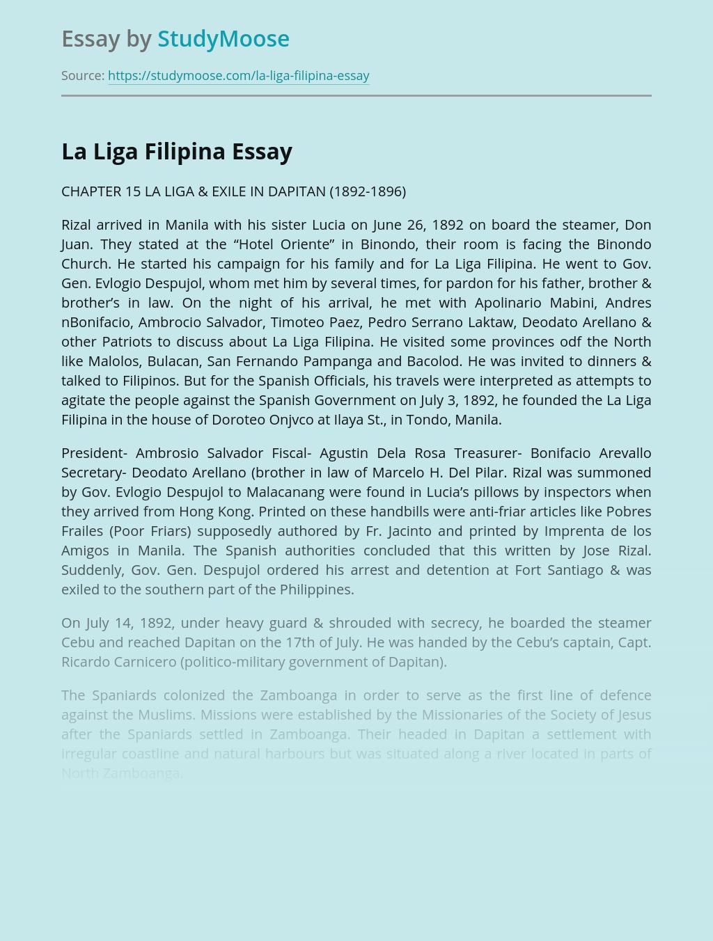 Persona of Rizal and La Liga Filipina