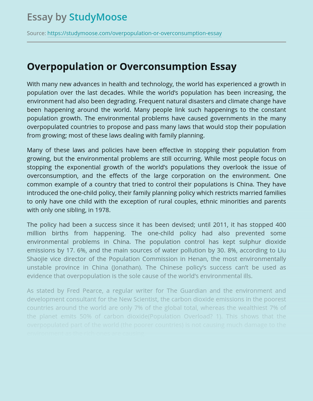 Overpopulation or Overconsumption
