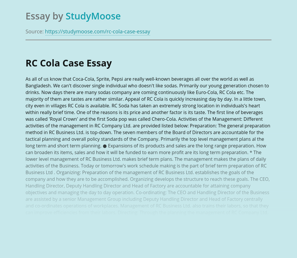 RC Cola Case