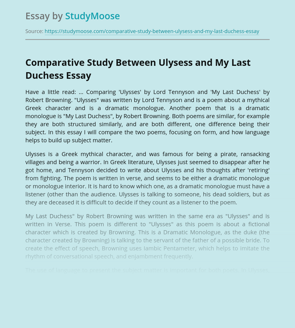 Comparative Study Between Ulysess and My Last Duchess