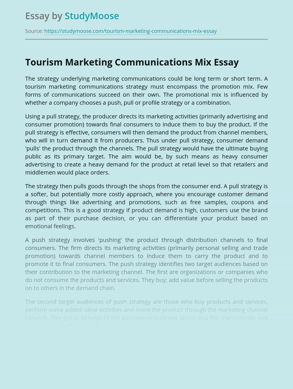 Tourism Marketing Communications Mix