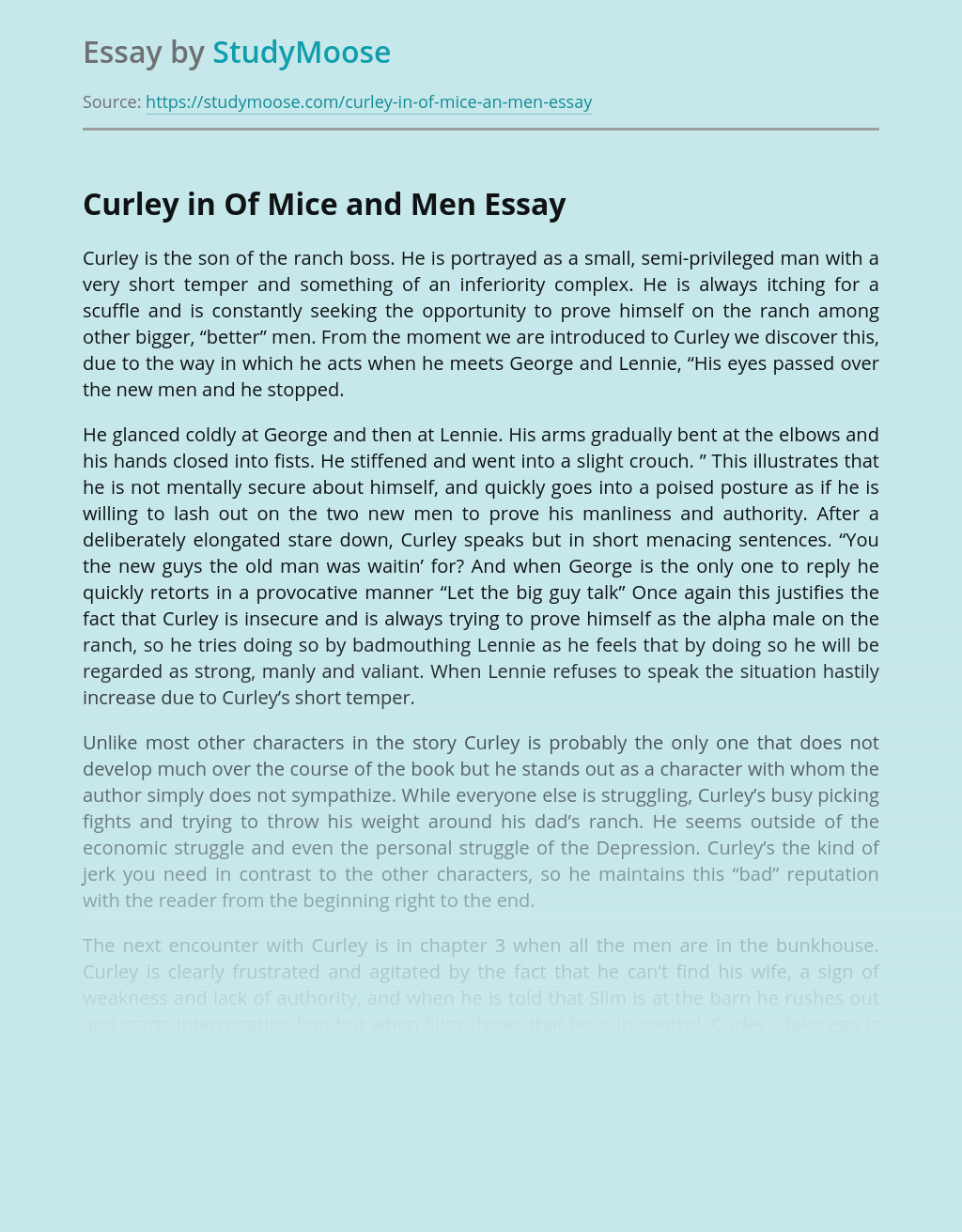 Curley in Of Mice and Men