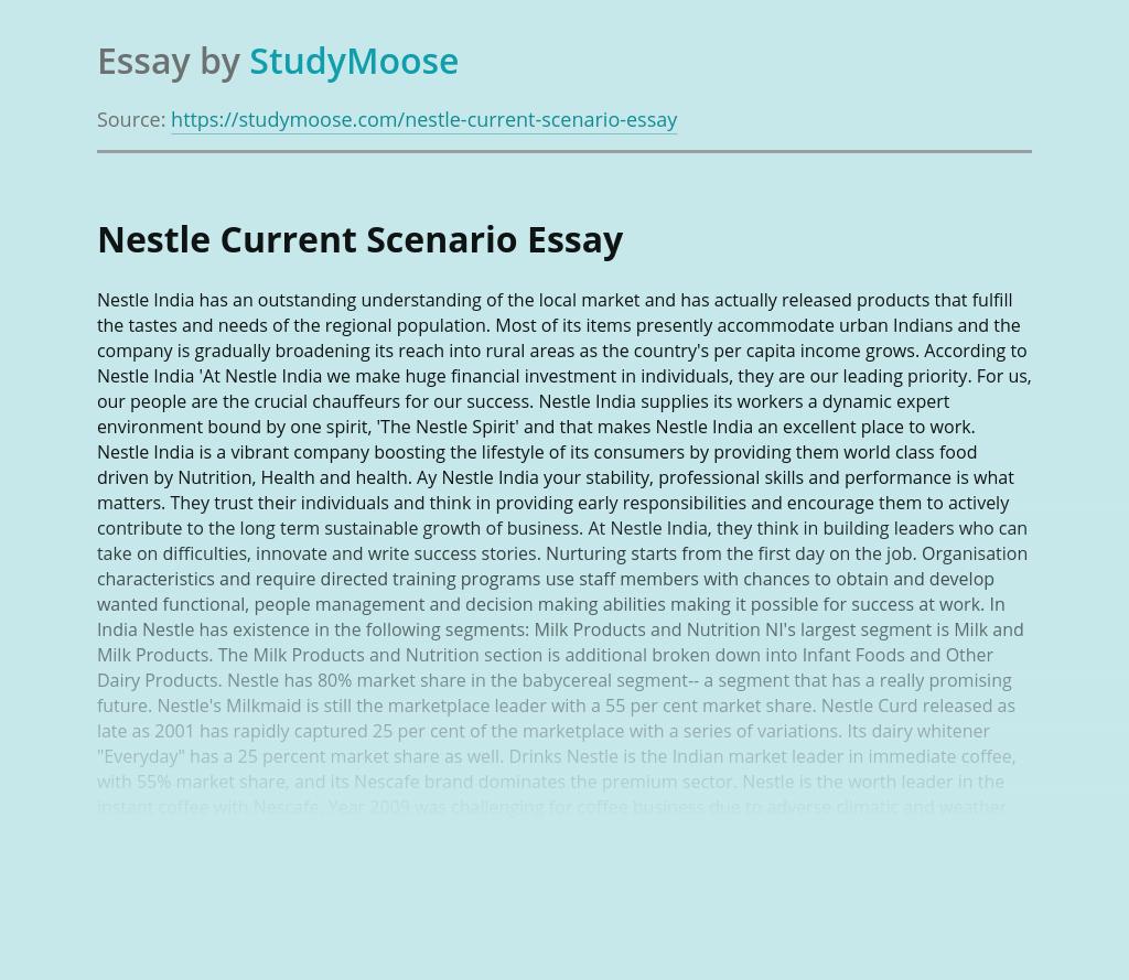 Nestle Current Scenario