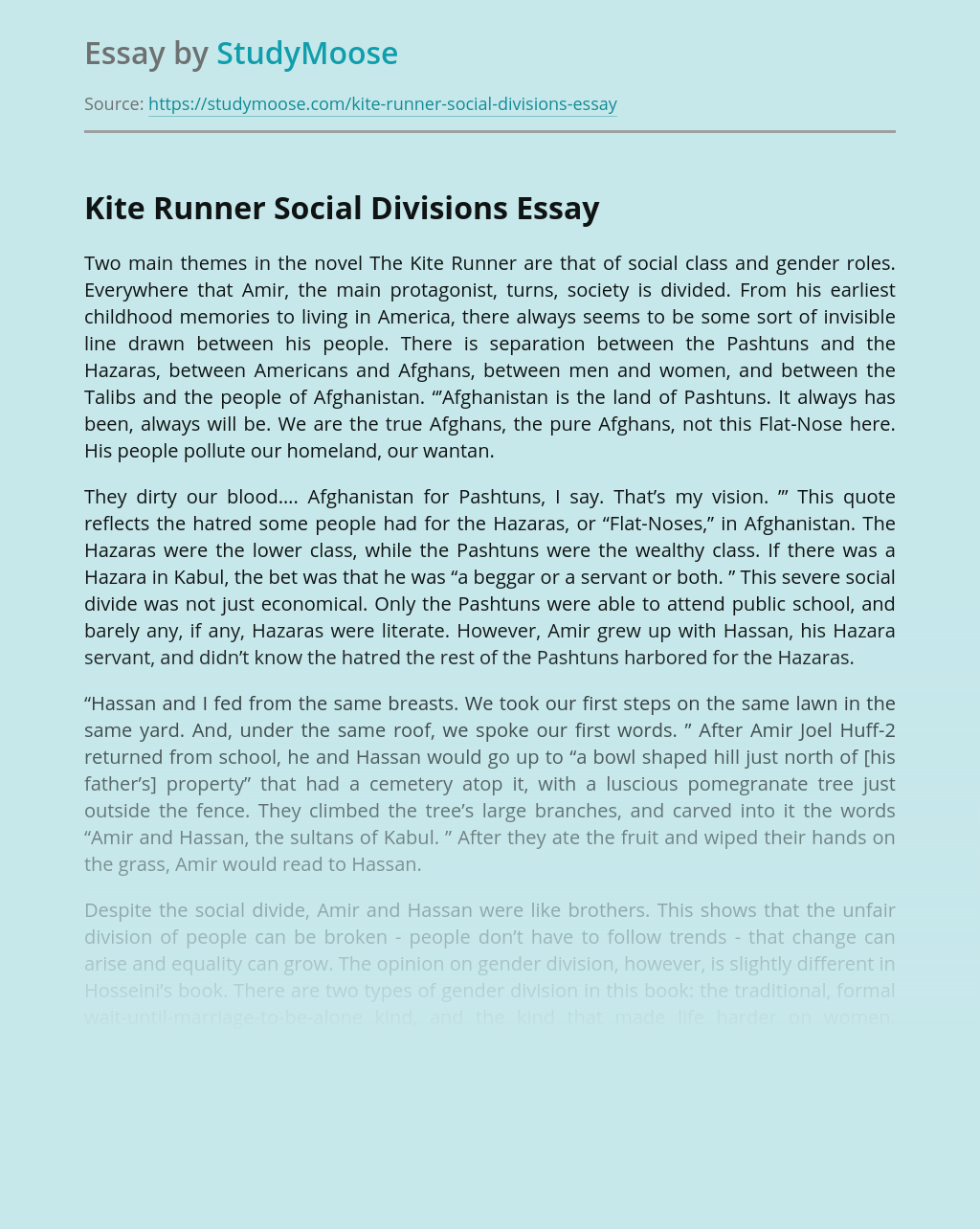 The Kite Runner Analysis: Divisions of Afghan Society