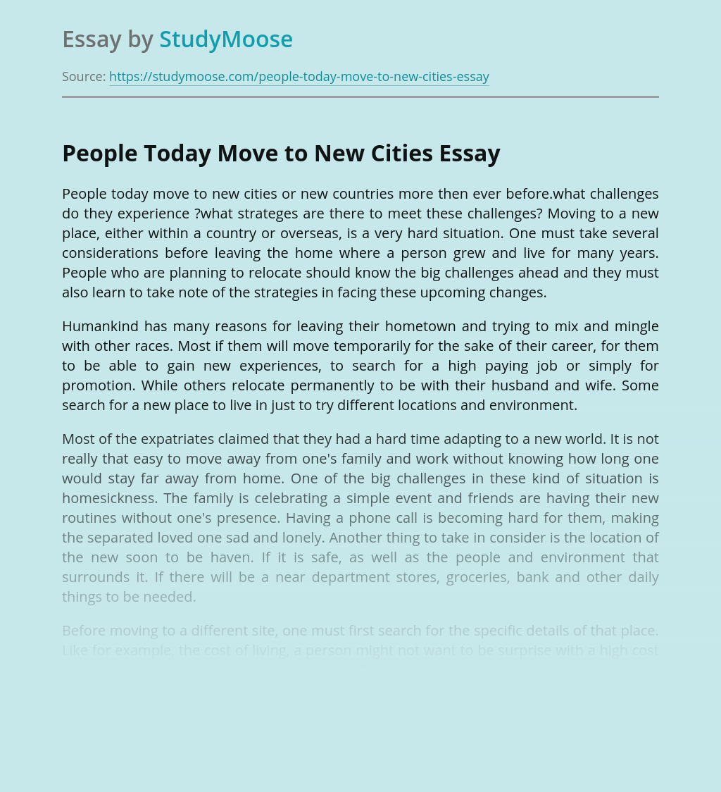 People Today Move to New Cities