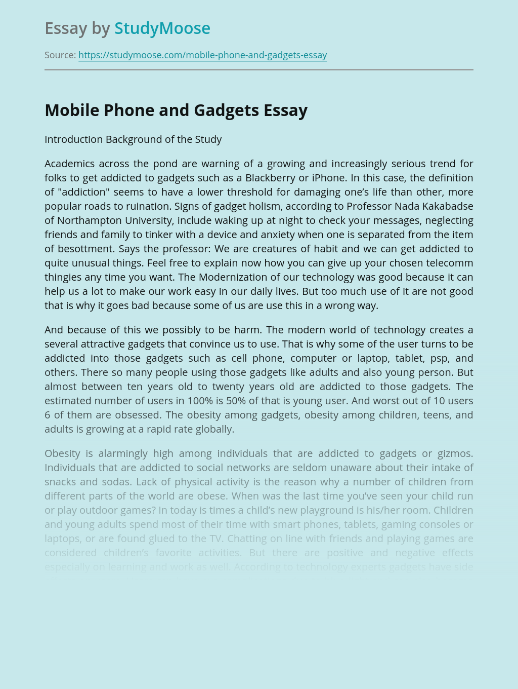 Mobile Phone and Gadgets