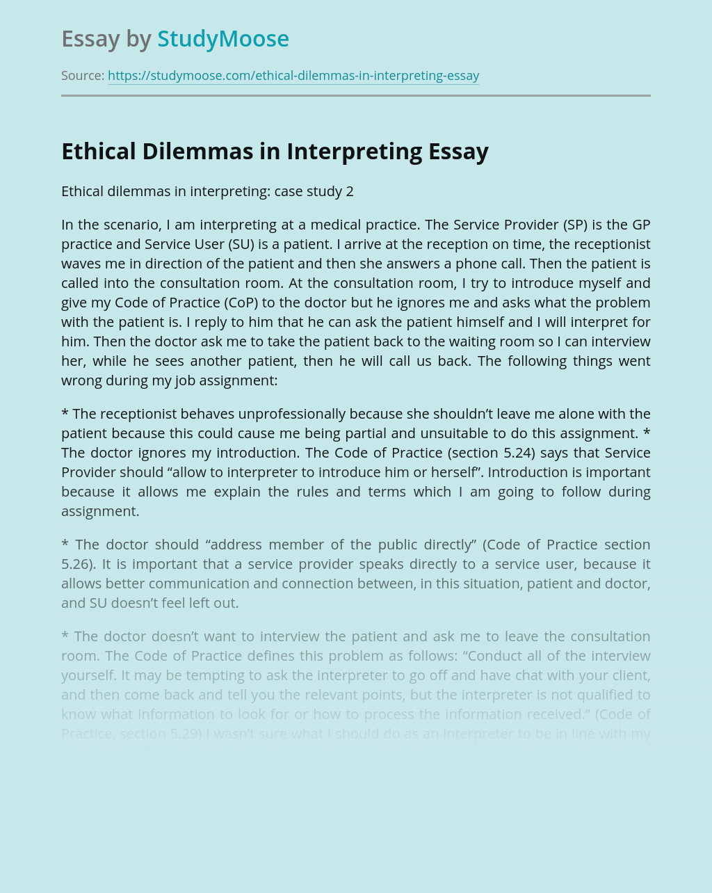 Ethical Dilemmas in Interpreting