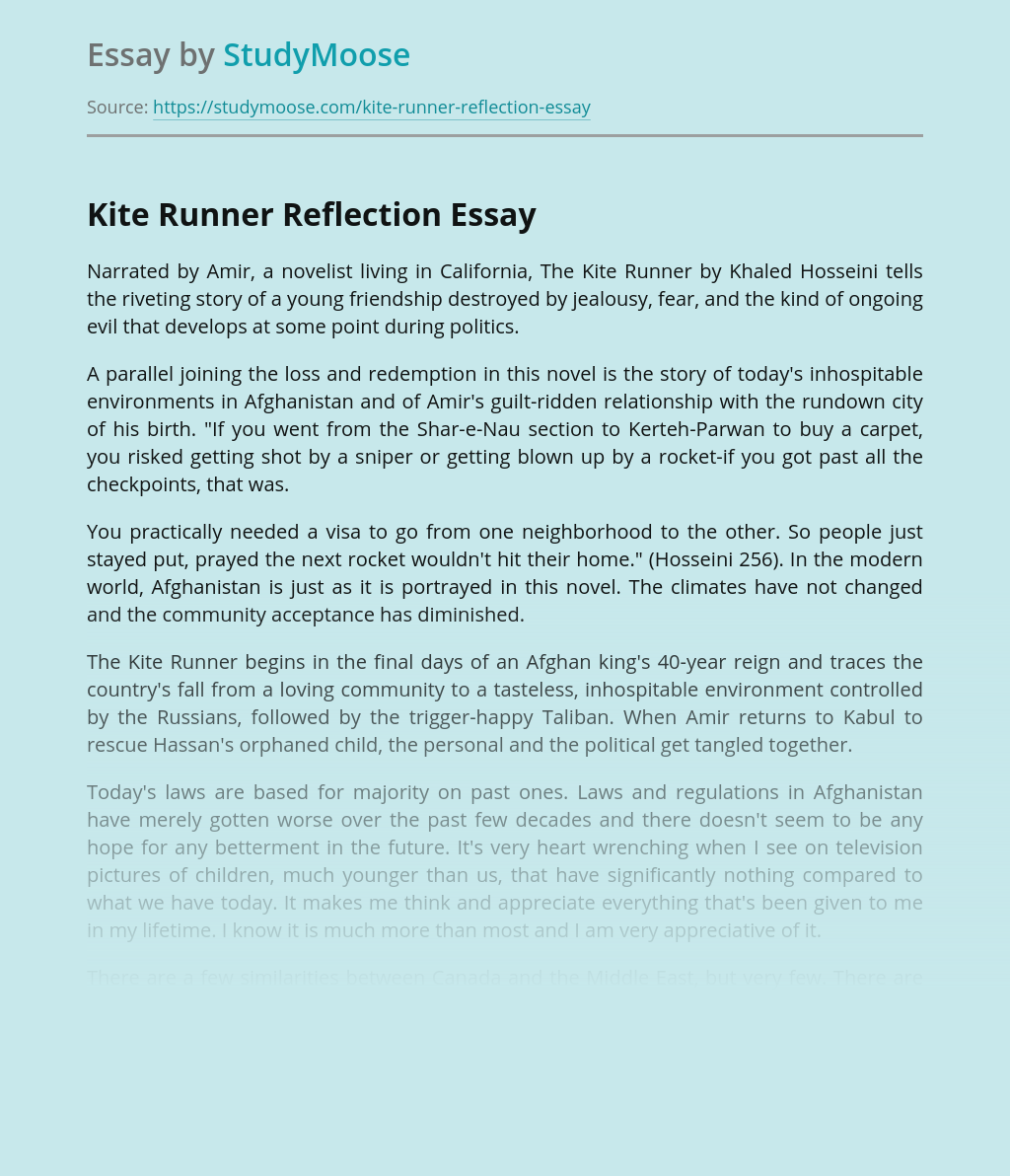Kite Runner Reflection Book Review