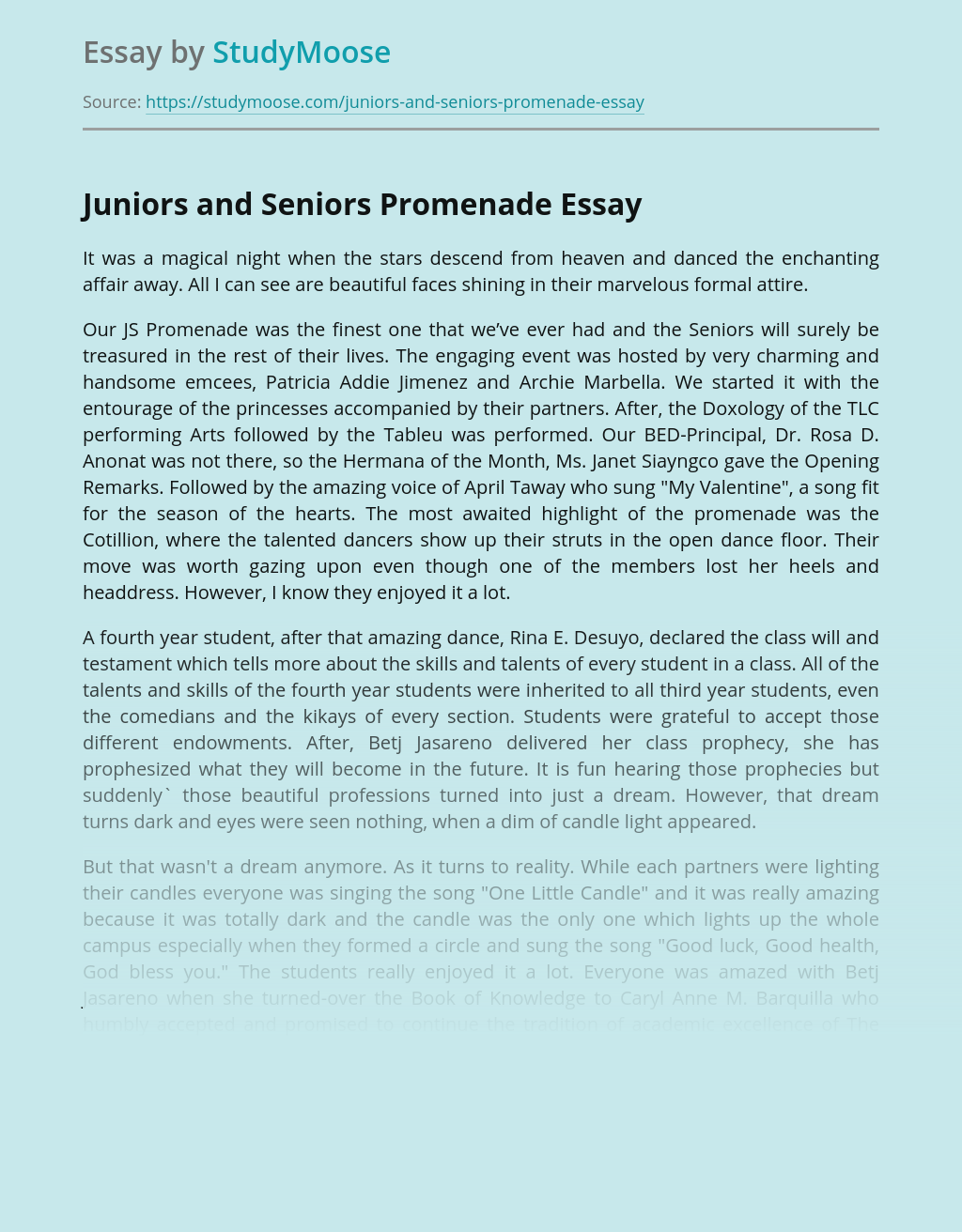 high school prom essay