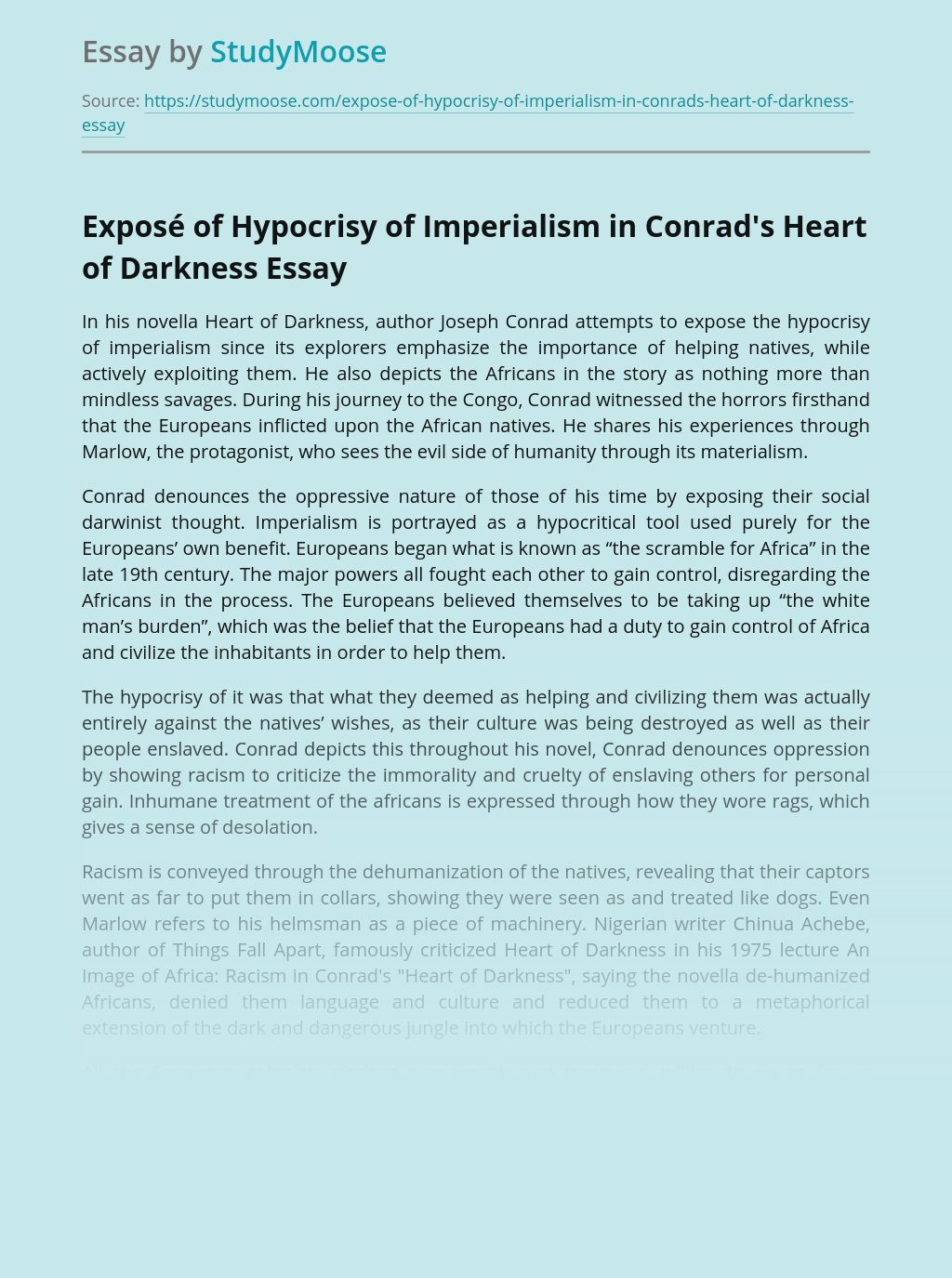 Exposé of Hypocrisy of Imperialism in Conrad's Heart of Darkness
