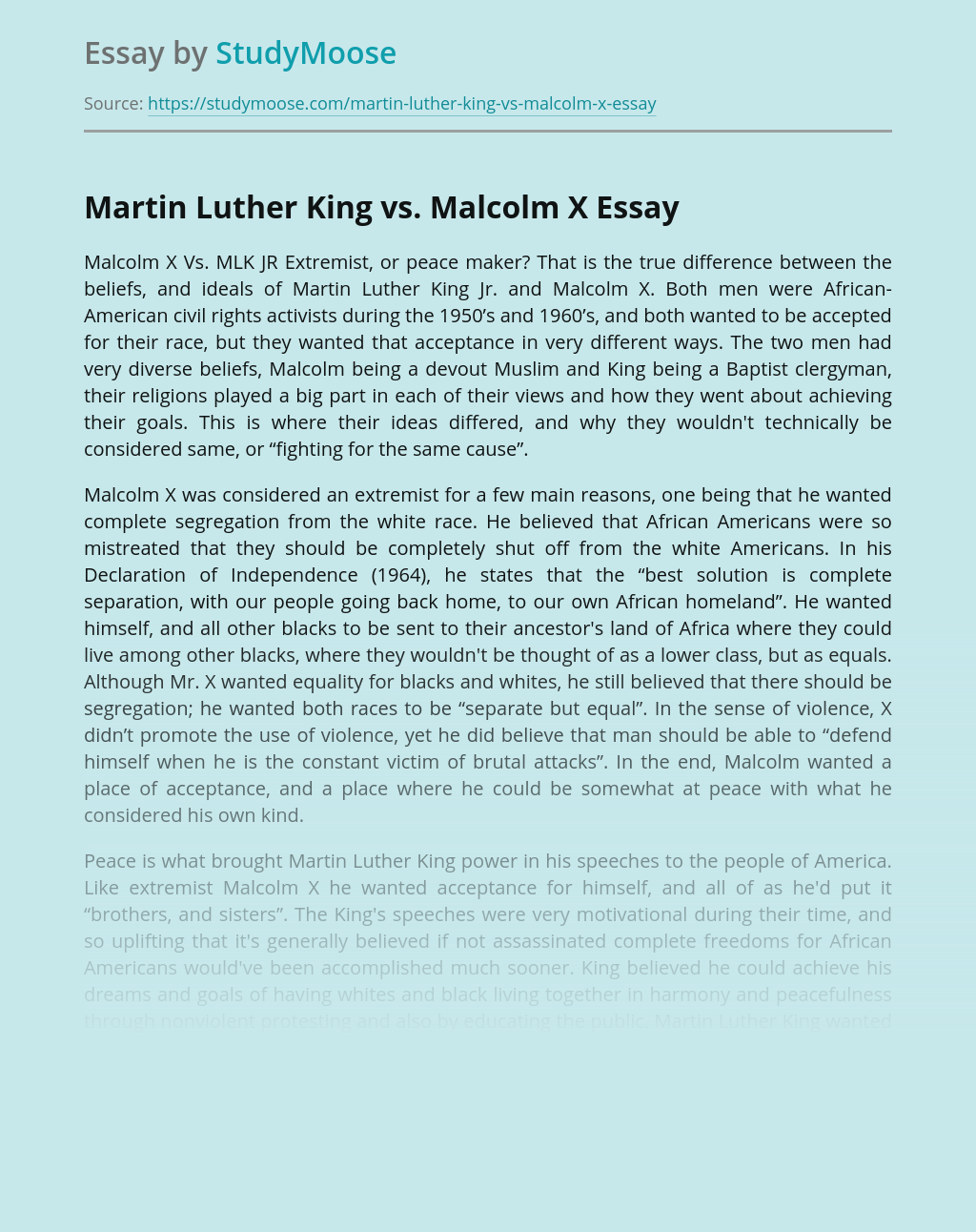 Martin Luther King vs. Malcolm X