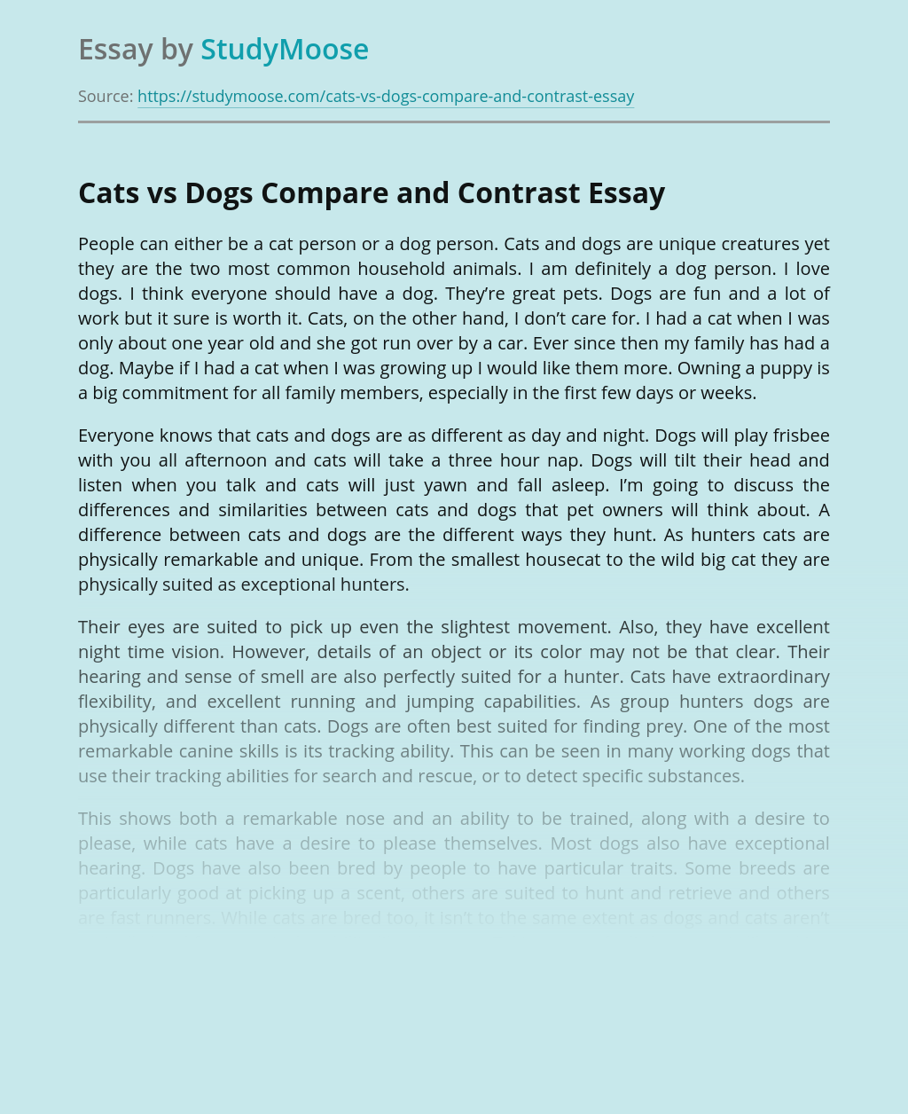 Cats vs Dogs Compare and Contrast