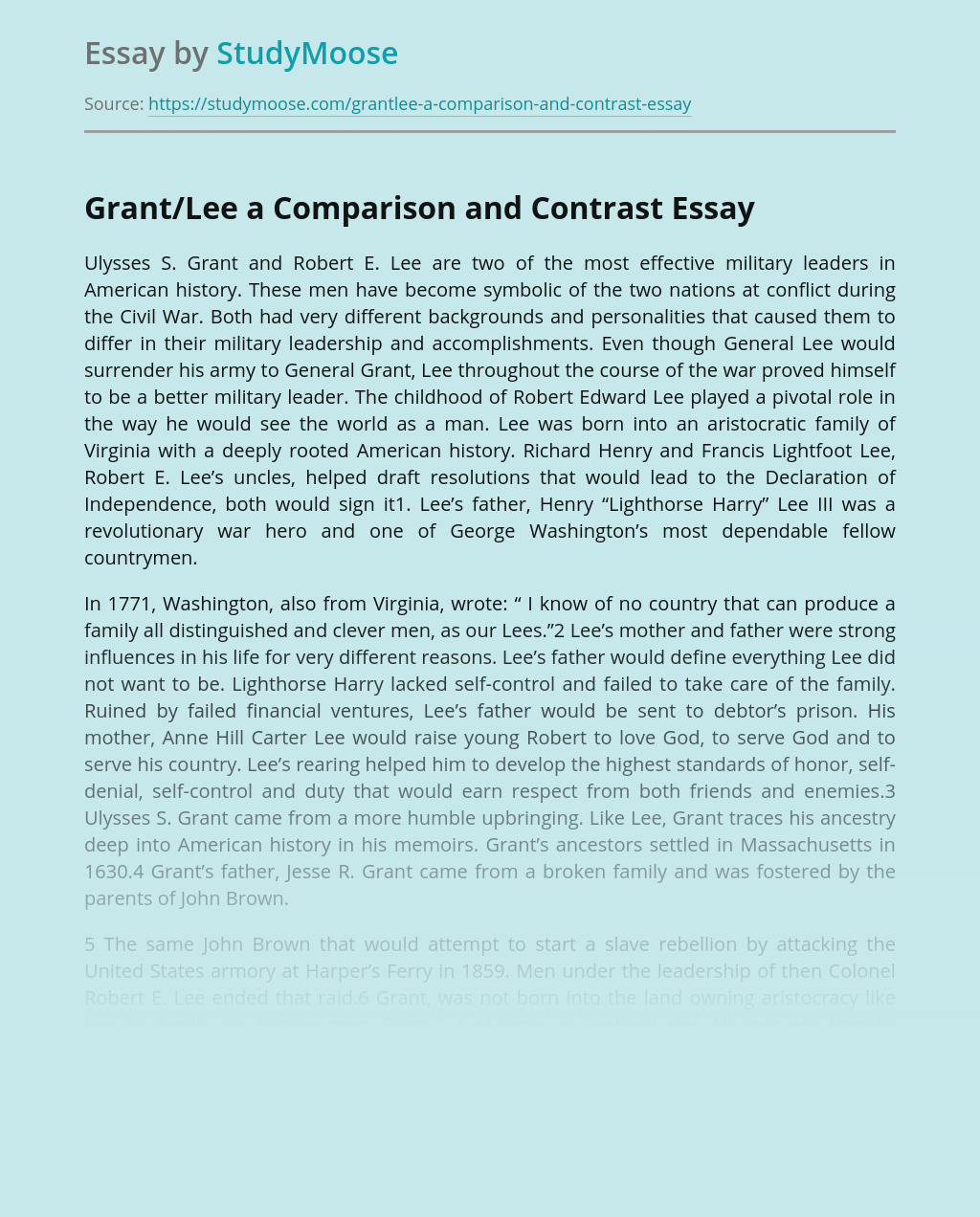 Ulysses S. Grant and Robert E. Lee: Comparison and Contrast