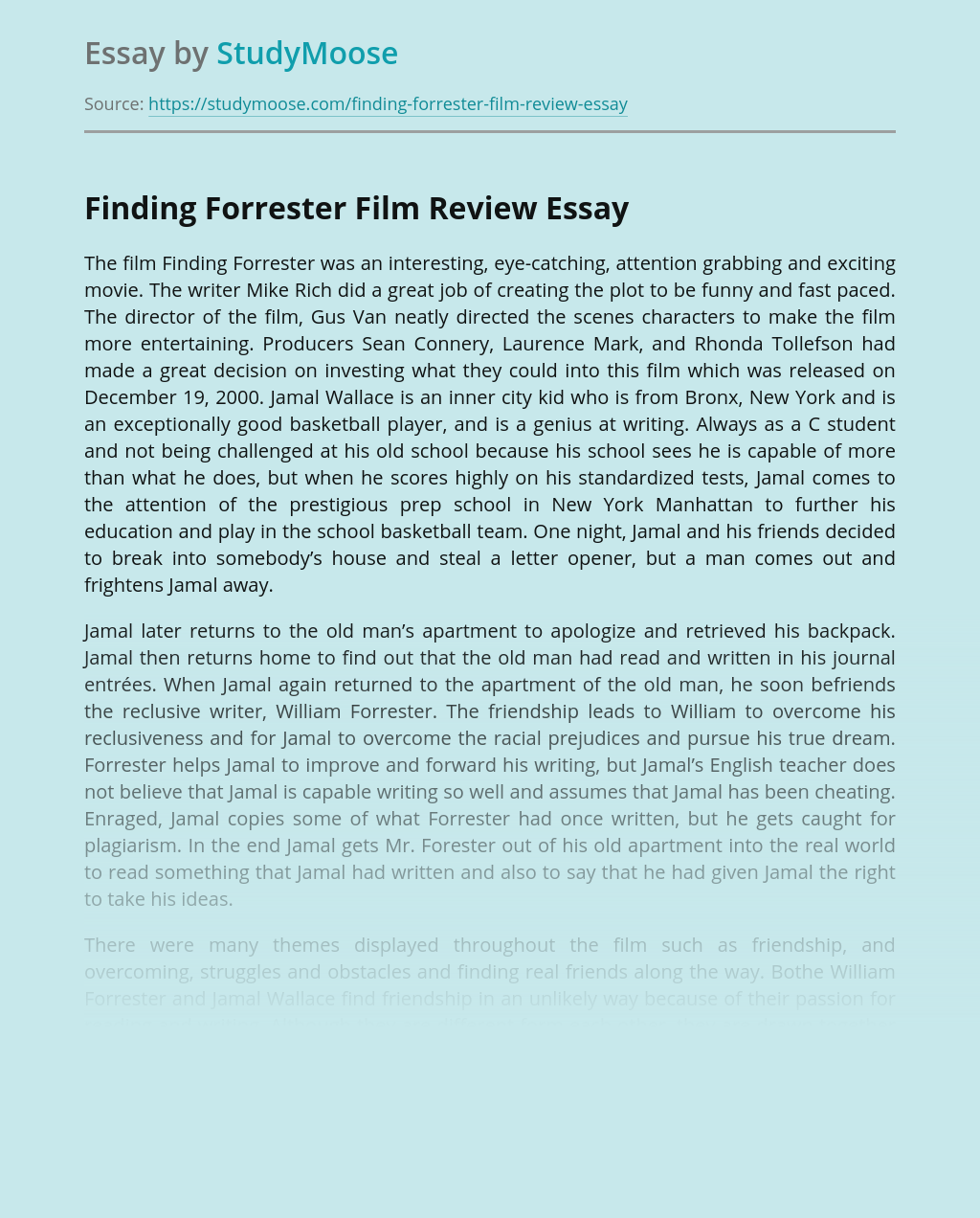 Finding Forrester Film Review Free Essay Example